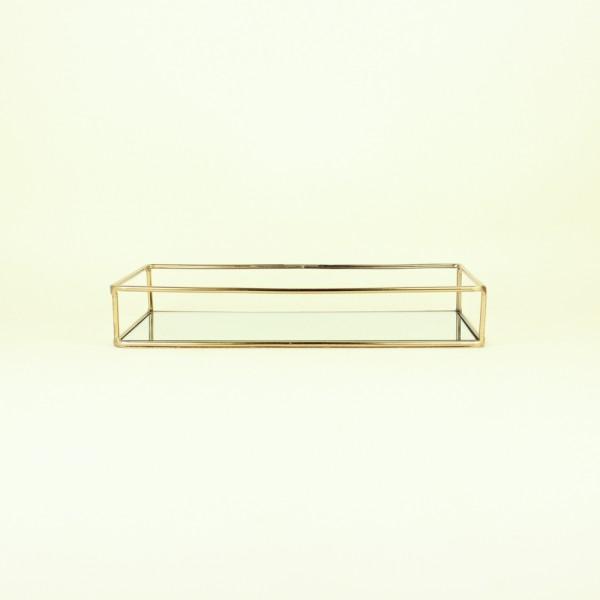 Bandeja Ouro em Metal com Espelho