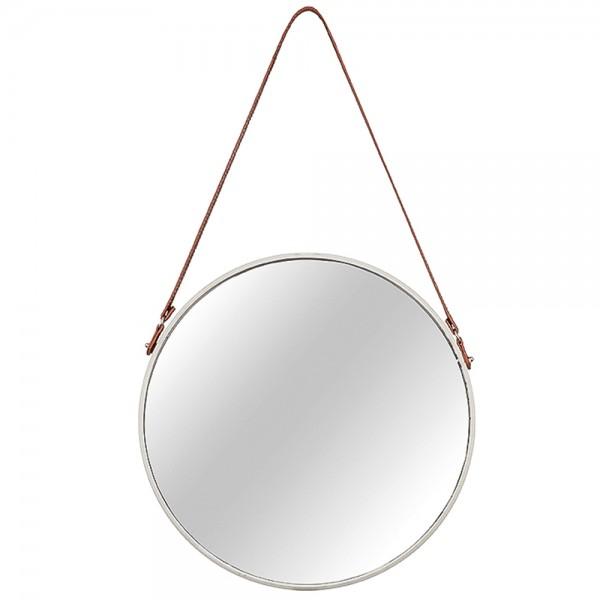 Espelho Redondo com Alça Off White e Marrom P