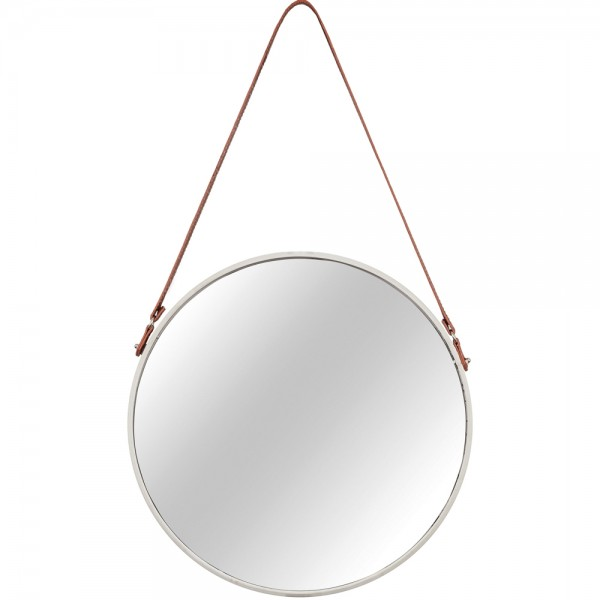 Espelho Redondo com Alça Off White e Marrom M