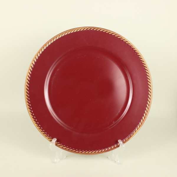 Sousplat Aeris Vermelho Detalhe Dourado