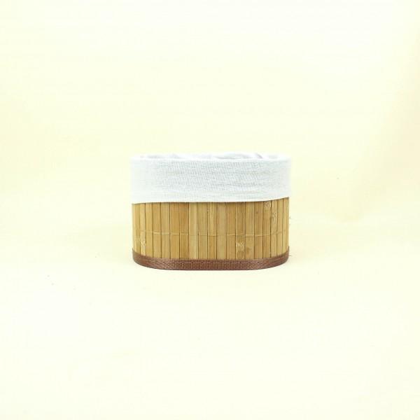 Cesto de Bambu Cru com Tecido PP
